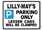 LILLY-MAY'S Personalised Parking Sign Gift | Unique Car Present for Her |  Size Large - Metal faced